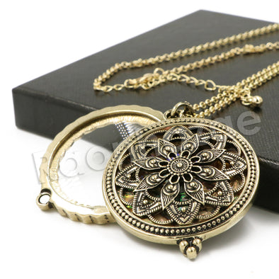 Antique Chain Ancient Mandala Magnifying Glass Locket Pendant Necklace - Raonhazae