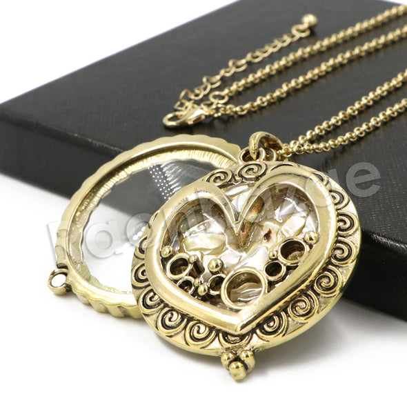 Antique Love is Complicated Chain Magnifying Glass Locket Pendant Necklace - Raonhazae