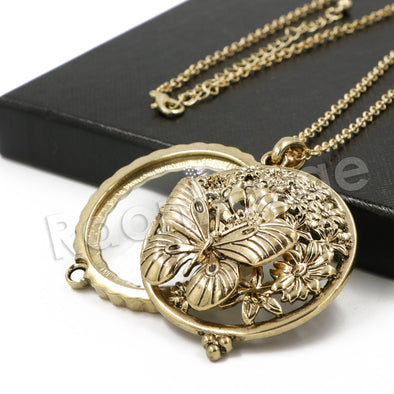 Antique Butterfly Effect 5X Magnifying Glass Locket Pendant Necklace - Raonhazae