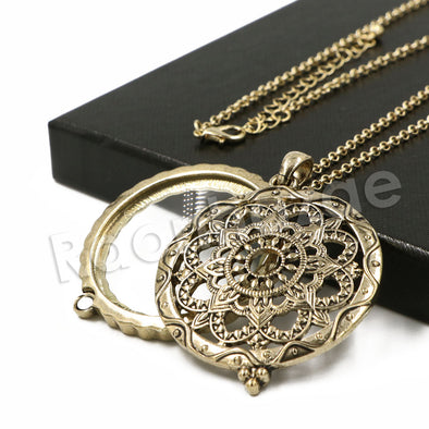 Antique Wheel of Life 5X Magnifying Glass Locket Pendant Necklace - Raonhazae