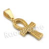 Lab diamond Micro Pave Egyptian Ankh Cross Pendant w/ Miami Cuban Chain BR105 - Raonhazae