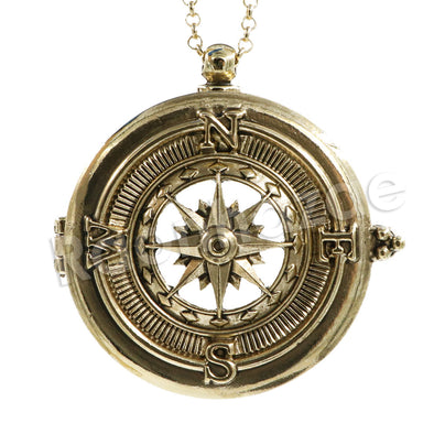 Antique Vintage Design Compass 5X Magnifying Glass Locket Pendant Necklace - Raonhazae