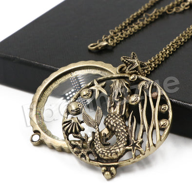 Antique Vintage Design Starry Mermaid 5x Magnifying Glass Locket Pendant Necklace - Raonhazae