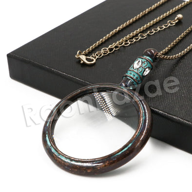 Patina Antique Vintage Design 5X Magnifying Glass Locket Pendant Necklace - Raonhazae
