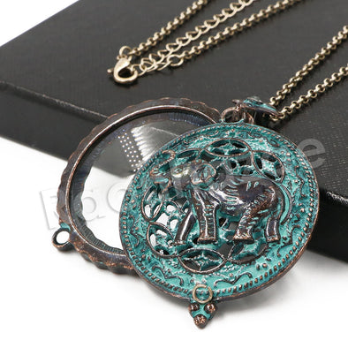 Patina Antique Vintage Design Elephant 5X Magnifying Glass Locket Pendant Necklace - Raonhazae