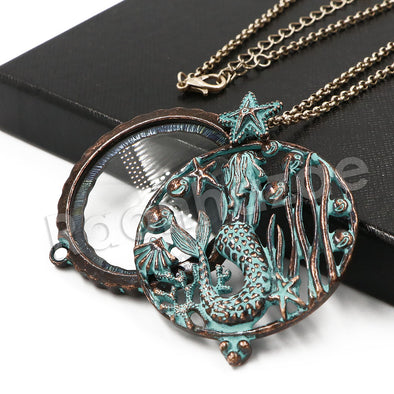 Patina Antique Vintage Design Tree of Life 5X Magnifying Glass Locket Pendant Necklace - Raonhazae