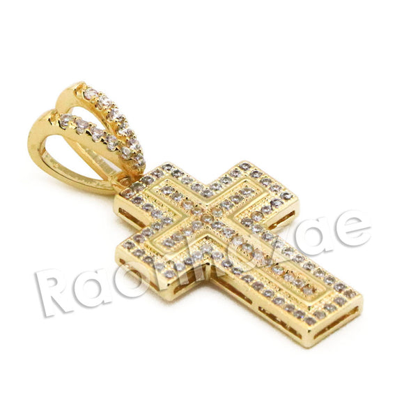 Lab diamond Micro Pave Mini Jesus Cross w/ Miami Cuban Chain BR119 - Raonhazae