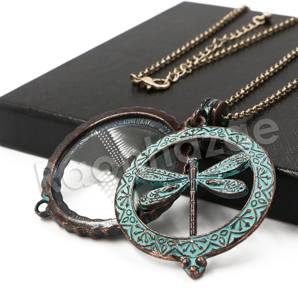 Patina Antique Vintage Design Butterfly Effect 5X Magnifying Glass Locket Pendant Necklace - Raonhazae