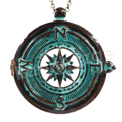 Patina Antique Vintage Desig Navigators Compass 5X Magnifying Glass Locket Pendant Necklace - Raonhazae