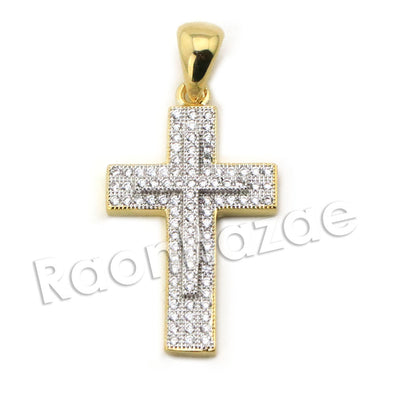 Lab diamond Micro Pave Double Jesus Cross Pendant w/ Miami Cuban Chain BR127 - Raonhazae