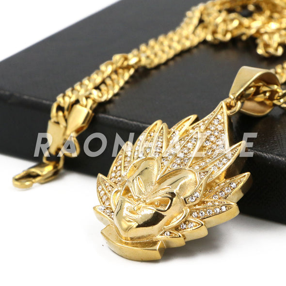 "Stainless Steel Gold Dragon Ball Z ""Goku"" Pendant w/Cuban Chain - Raonhazae"
