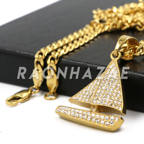 "Stainless Steel Gold Sailing ""Lil"" Yacht Pendant w/Cuban Chain - Raonhazae"