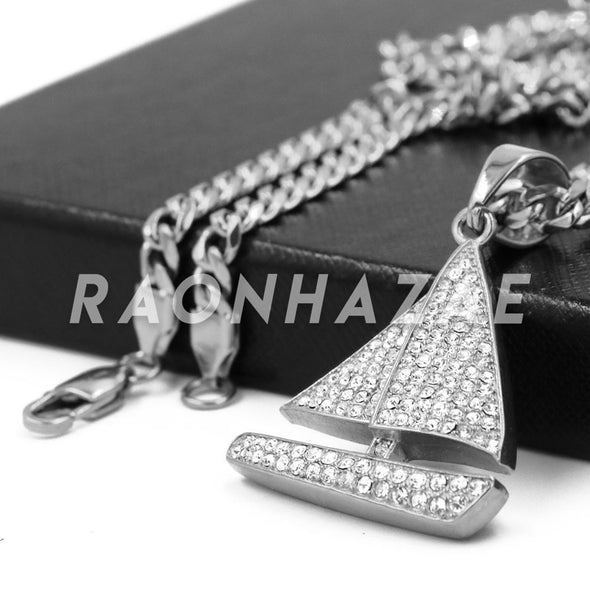 Stainless Steel Silver Yachty Pendant w/Cuban Chain - Raonhazae