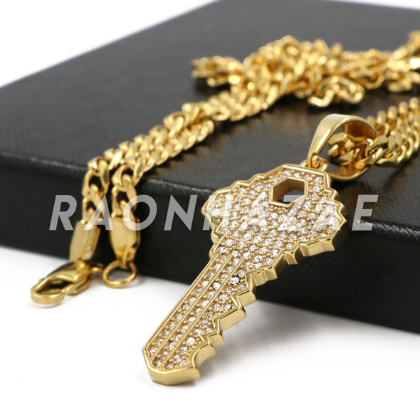 Stainless Steel Gold Key Pendant w/Cuban Chain - Raonhazae