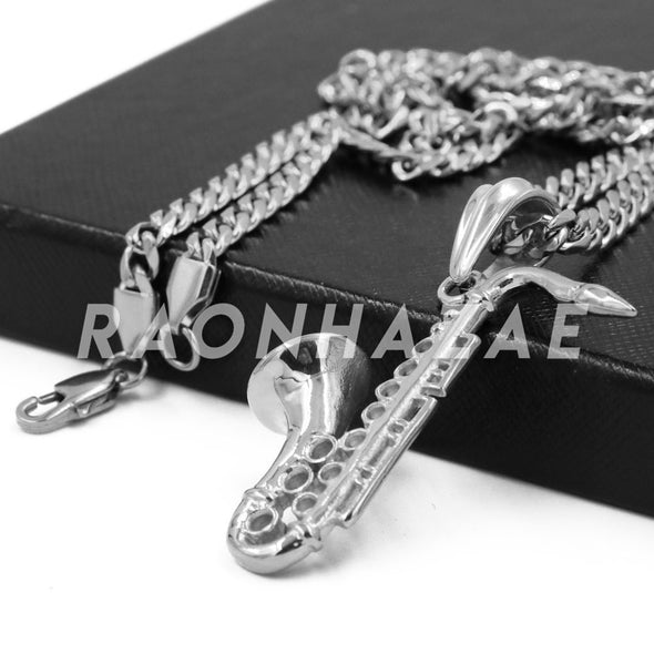 Stainless Steel Silver Saxophone Pendant w/Cuban Chain - Raonhazae