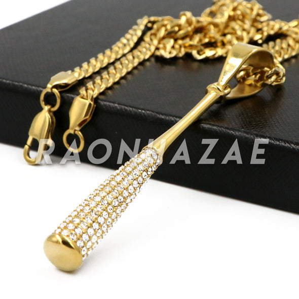 "Stainless Steel Gold Baseball ""Bomber"" Bat Pendant w/Cuban Chain - Raonhazae"