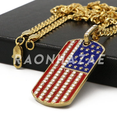 Stainless Steel Gold American Flag Dog Tag Pendant w/Cuban Chain - Raonhazae