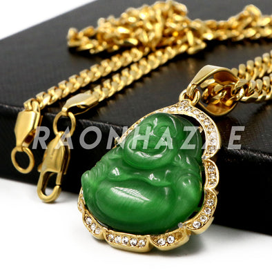 Stainless Steel Gold Smiling Chubby Buddha (Green Jade) Pendant w/Cuban Chain - Raonhazae