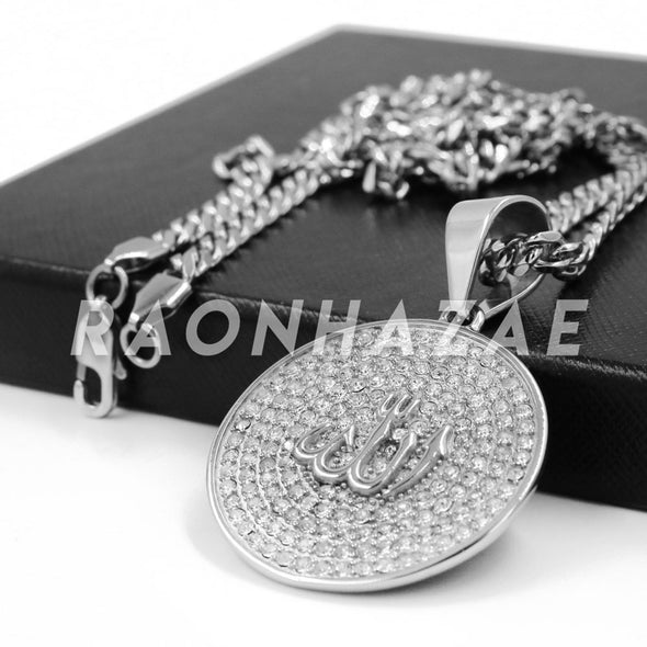 Stainless Steel Silver Allah Round Medallion Pendant w/ Cuban Chain - Raonhazae