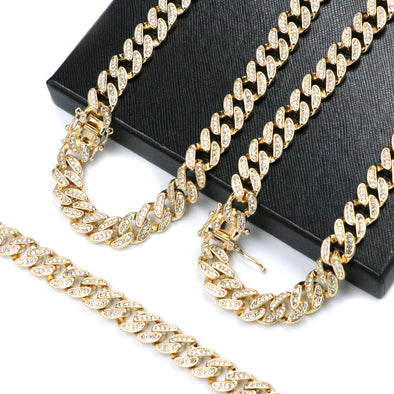 "Iced Out 14k Gold PT 10mm 8.5"" - 24"" Miami Cuban Choker Chain Necklace Bracelet - Raonhazae"
