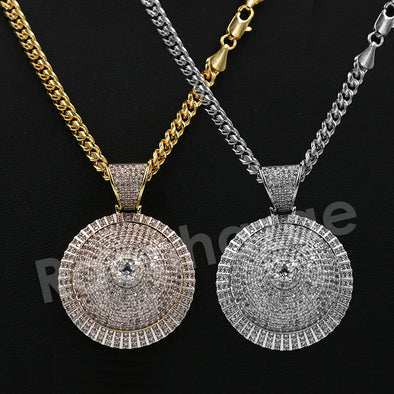 "14K Pt Gold Round CLASSIC SPINNING DISCO DANCER Pendant W/5mm 24"" 30"" Cuban Chain - Raonhazae"