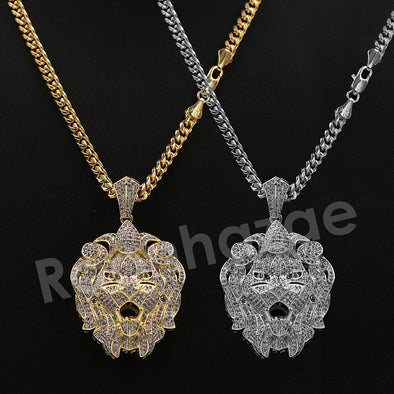 "14K Pt Gold FEROCIOUS LION FACE Pendant W/5mm 24"" 30"" Cuban Chain - Raonhazae"
