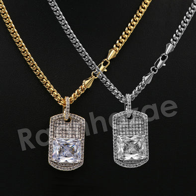 "14K PT Gold BIG DIAMOND DOGTAG Pendant W/5mm 24"" 30"" Cuban Chain - Raonhazae"