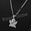 "14K PT Gold SNAPCHAT GHOST Pendant W/5mm 24"" 30"" Cuban Chain - Raonhazae"