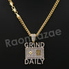 "14K PT Gold GRIND DAILY Pendant W/5mm 24"" 30"" Cuban Chain - Raonhazae"