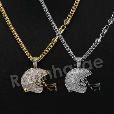 "14K PT Gold FOOT BALL HELMET Pendant W/5mm 24"" 30"" Cuban Chain - Raonhazae"