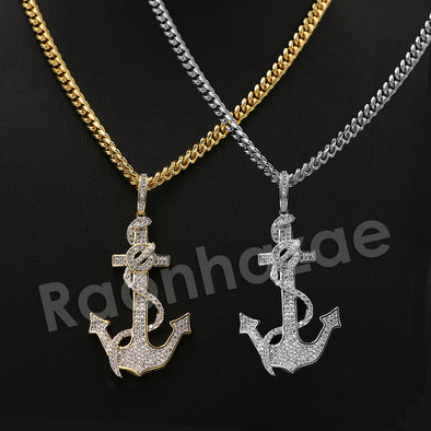 "14K PT Gold SAILOR ANCHOR Pendant W/5mm 24"" 30"" Cuban Chain - Raonhazae"