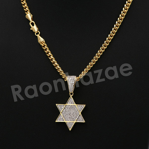 "14K PT Gold STAR OF DAVID Pendant W/5mm 24"" 30"" Cuban Chain - Raonhazae"