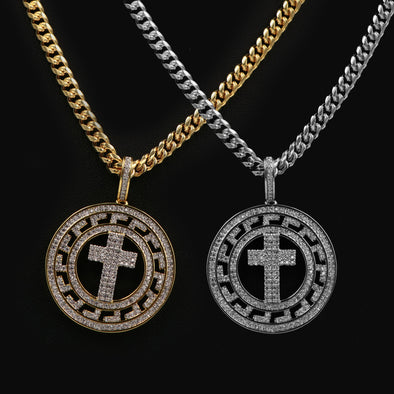"14K Pt Gold Medallion Cross Brass Pendant W/5mm 24"" 30"" Cuban Chain - Raonhazae"