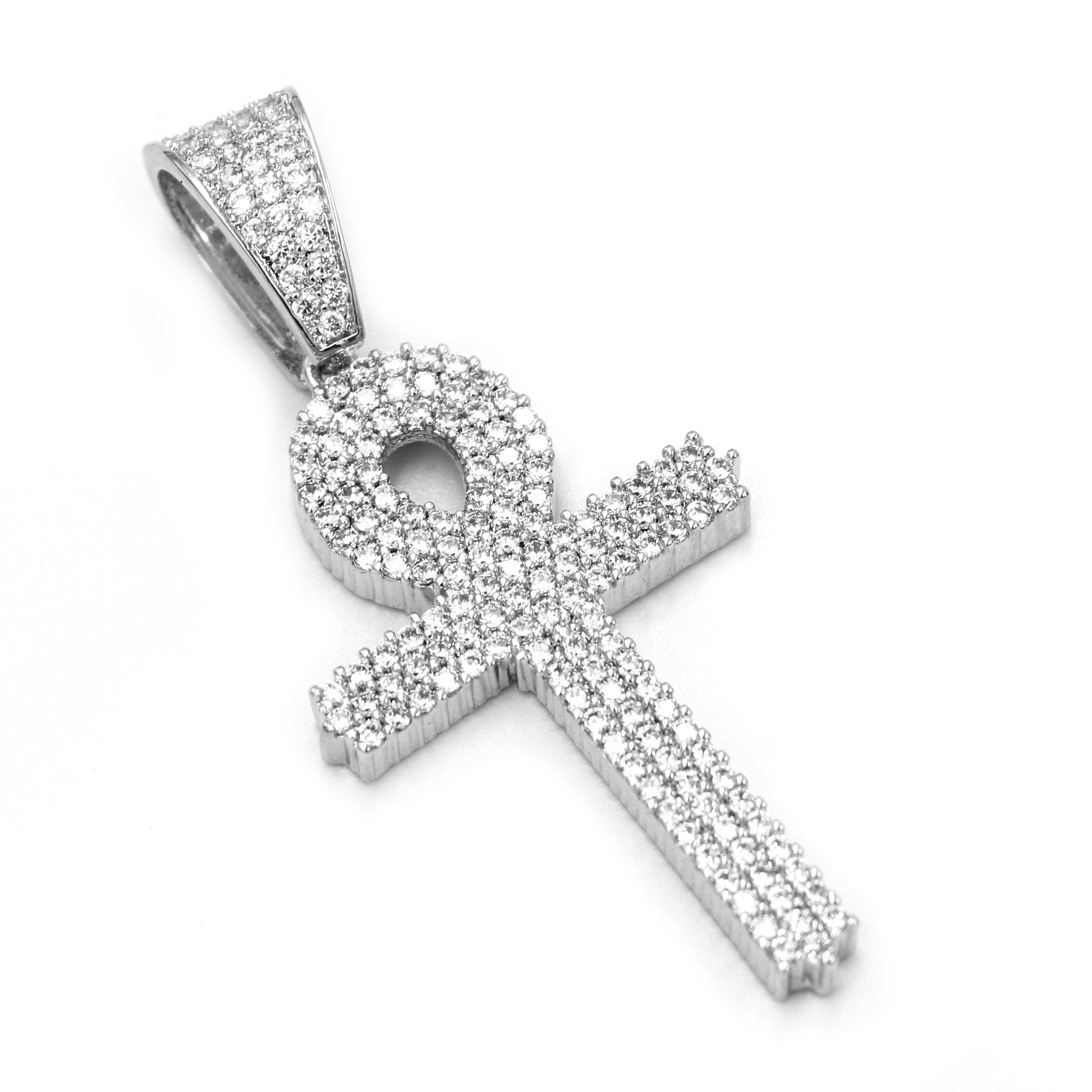 """Mens Iced Out Silver Ankh Cross Charm Brass Pendant W//5mm 24/"""" 30/"""" Cuban Chain"""