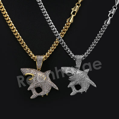 "14K Pt Gold Round Shark Pendant W/5mm 24"" 30"" Cuban Chain - Raonhazae"