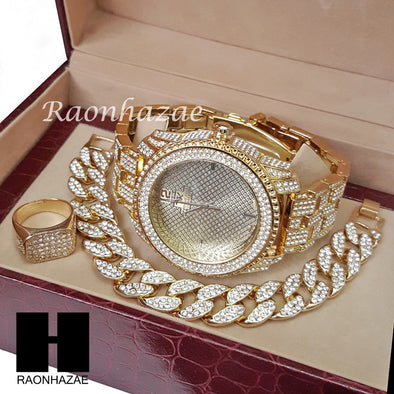 TECHNO KING ICED SET RAPPER 14K GOLD WATCH CUBAN BRACELET RING SET L013 - Raonhazae