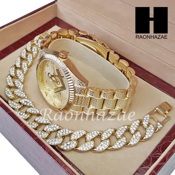 MEN FREEMASON MASONIC RAPPER 14K GOLD WATCH CUBAN BRACELET SET L023 - Raonhazae
