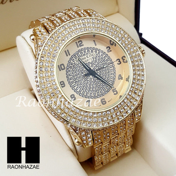 Men Hip Hop 14K Gold PT Crystal Techno King Rapper Metal Band Watch L10 - Raonhazae