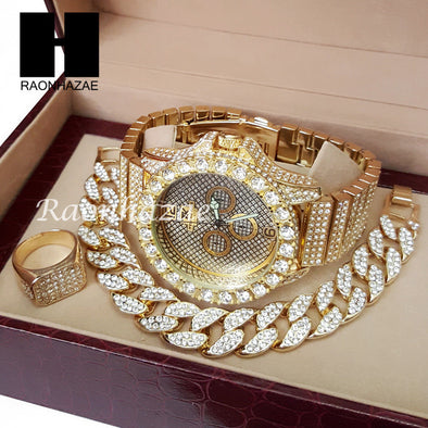 TECHNO KING ICED SET RAPPER 14K GOLD WATCH CUBAN BRACELET RING SET L16 - Raonhazae