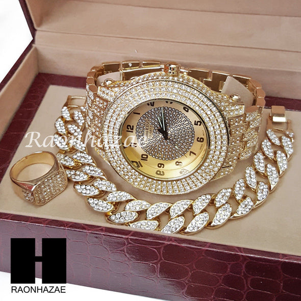 TECHNO KING ICED SET RAPPER 14K GOLD WATCH CUBAN BRACELET RING SET L17 - Raonhazae