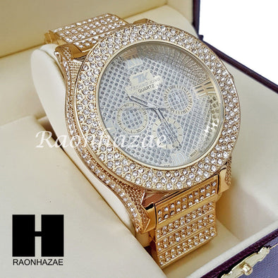 Men's Hip Hop 14K Gold PT Bling Lab Diamond Techno King Rapper Watch L2 - Raonhazae