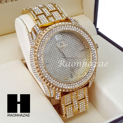 Men's Hip Hop 14K Gold PT Bling Lab Diamond Techno King Rapper Watch L5 - Raonhazae