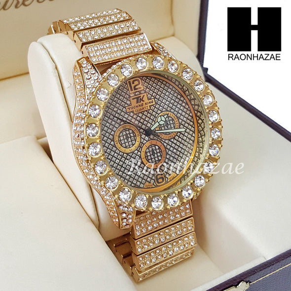 Men's Hip Hop 14K Gold PT Bling Lab Diamond Techno King Rapper Watch L6 - Raonhazae