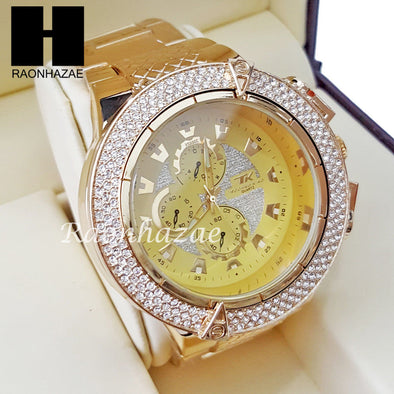 Mens Hip Hop 14K Gold PT Crystal Techno King Rapper Metal Band Watch L9 - Raonhazae