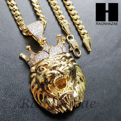 Mens Lab Diamond Gold PT King Lion Face Pendant w/ 4mm Cuban Chain B05G - Raonhazae