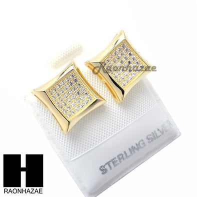 Iced Out Sterling Silver .925 Lab Diamond 11mm Square Screw Back Earring SE002G - Raonhazae