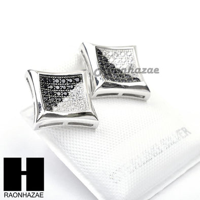 Iced Out Sterling Silver .925 Lab Diamond 11mm Square Screw Back Earring SE002SB - Raonhazae