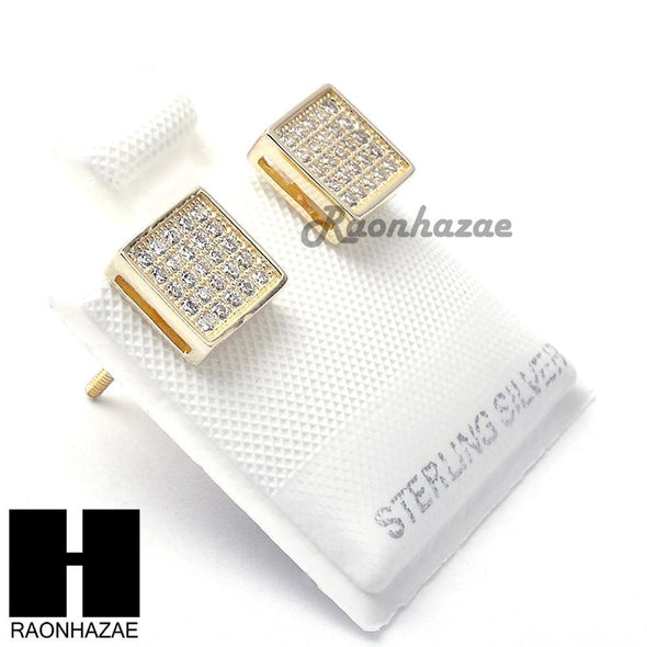 Iced Out Sterling Silver .925 Lab Diamond 7mm Square Push Back Earring SE005G - Raonhazae