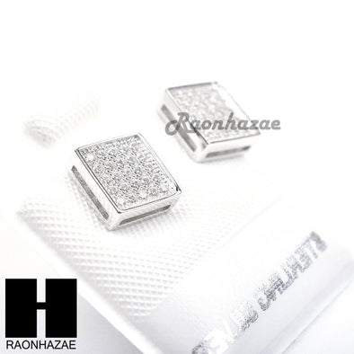 Sterling Silver .925 Lab Diamond 7mm Square Push Back Earring SE005S - Raonhazae