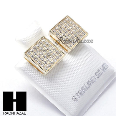 Iced Out Sterling Silver .925 Lab Diamond 9mm Square Screw Back Earring SE006G - Raonhazae